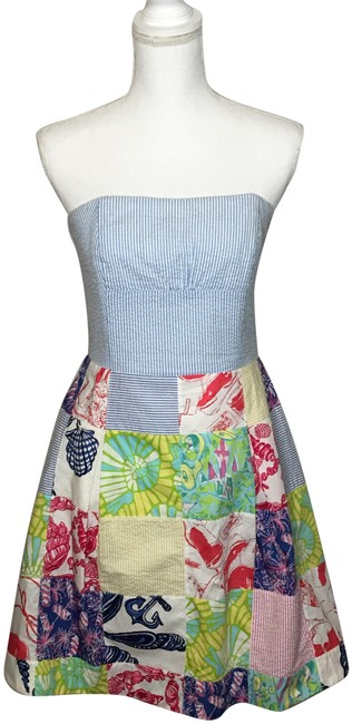 Preload https://img-static.tradesy.com/item/25557207/lilly-pulitzer-bluewhitered-patchwork-strapless-short-casual-dress-size-6-s-0-1-650-650.jpg