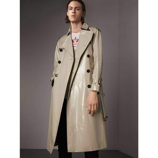 Burberry Stone Beige Men's Patent Canvas Trench Rain Coat 52/Us 42 4069171 Groomsman Gift Image 1