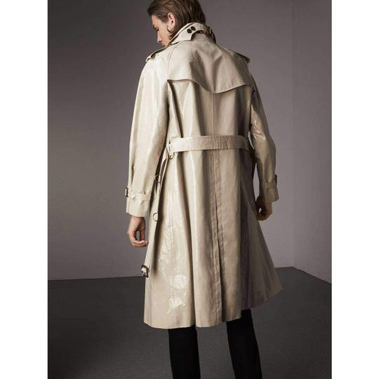 Burberry Stone Beige Men's Patent Canvas Trench Rain Coat 52/Us 42 4069171 Groomsman Gift Image 2