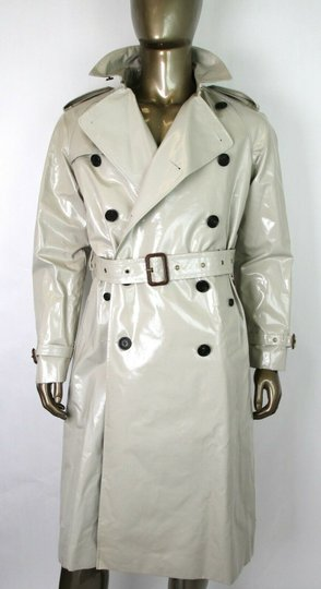 Burberry Stone Beige Men's Patent Canvas Trench Rain Coat 52/Us 42 4069171 Groomsman Gift Image 3