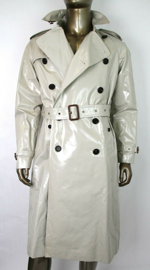 Burberry Stone Beige Men's Patent Canvas Trench Rain Coat 52/Us 42 4069171 Groomsman Gift Image 4