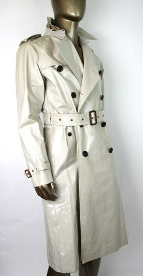 Burberry Stone Beige Men's Patent Canvas Trench Rain Coat 52/Us 42 4069171 Groomsman Gift Image 5