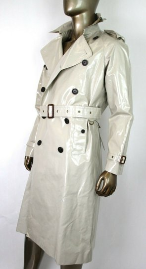 Burberry Stone Beige Men's Patent Canvas Trench Rain Coat 52/Us 42 4069171 Groomsman Gift Image 6