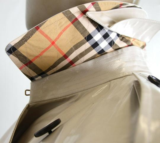 Burberry Stone Beige Men's Patent Canvas Trench Rain Coat 52/Us 42 4069171 Groomsman Gift Image 8