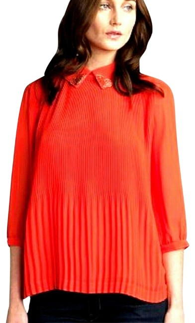 Preload https://img-static.tradesy.com/item/25557211/ted-baker-coral-red-w-pleated-wgold-detail-collar-eu-38-blouse-size-2-xs-0-3-650-650.jpg
