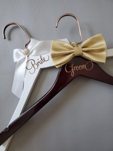 Bride and Groom Laser Wooden Hangers with Bow Wedding Gown Tux