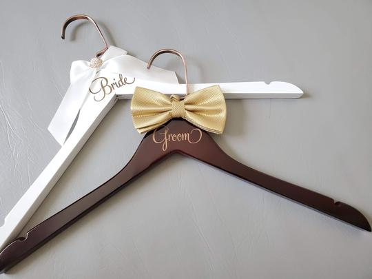 Bride and Groom Laser Wooden Hangers with Bow Wedding Gown Tux Image 1