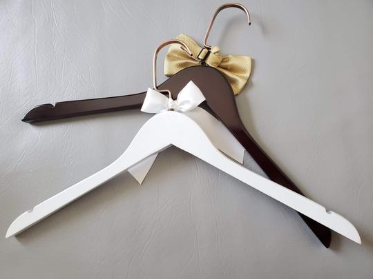 Bride and Groom Laser Wooden Hangers with Bow Wedding Gown Tux Image 2