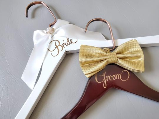 Bride and Groom Laser Wooden Hangers with Bow Wedding Gown Tux Image 3