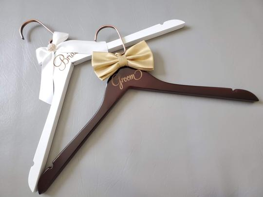 Bride and Groom Laser Wooden Hangers with Bow Wedding Gown Tux Image 4
