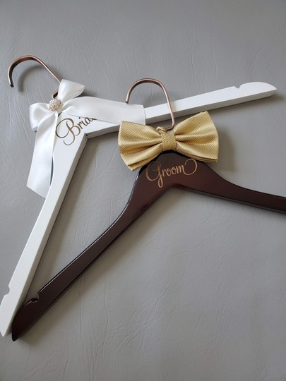 Bride and Groom Laser Wooden Hangers with Bow Wedding Gown Tux Image 5