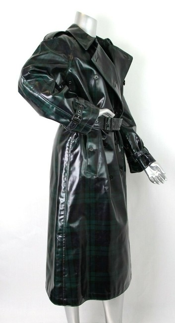 Burberry Women's Green/Black Plaid Patent Trench Coat Image 3
