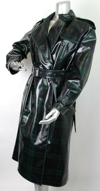 Burberry Women's Green/Black Plaid Patent Trench Coat Image 4