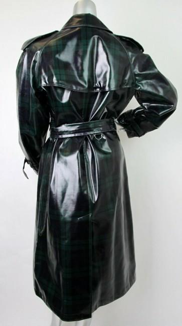 Burberry Women's Green/Black Plaid Patent Trench Coat Image 6