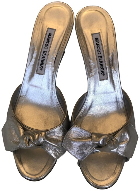 Item - Silver Leather Liss Bow-detail Slide Wedges Size EU 37.5 (Approx. US 7.5) Regular (M, B)