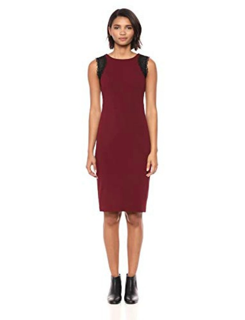 Item - Violet Women's Solid Sleeveless Sheath with Lace Trim 94% Polyes Mid-length Night Out Dress Size 4 (S)