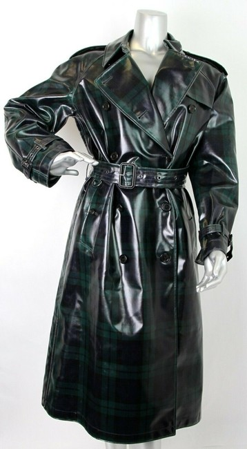 Burberry Women's Green/Black Plaid Patent Trench Coat Image 2