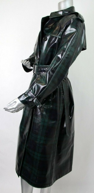 Burberry Women's Green/Black Plaid Patent Trench Coat Image 5