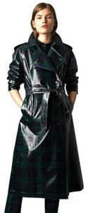 Burberry Women's Green/Black Plaid Patent Trench Coat