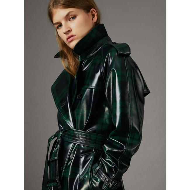 Burberry Women's Green/Black Plaid Patent Trench Coat Image 1