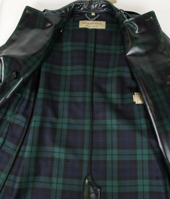 Burberry Women's Green/Black Plaid Patent Trench Coat Image 8