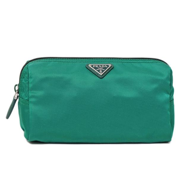 Item - Unisex Toiletry Zippered Pouch Cosmetic Case Kelly Green Saffiano Leather Weekend/Travel Bag