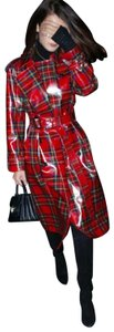 Burberry Women's Plaid Patent Trench Coat