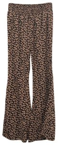 Cecico Super Flare Pants black with light pink flowers