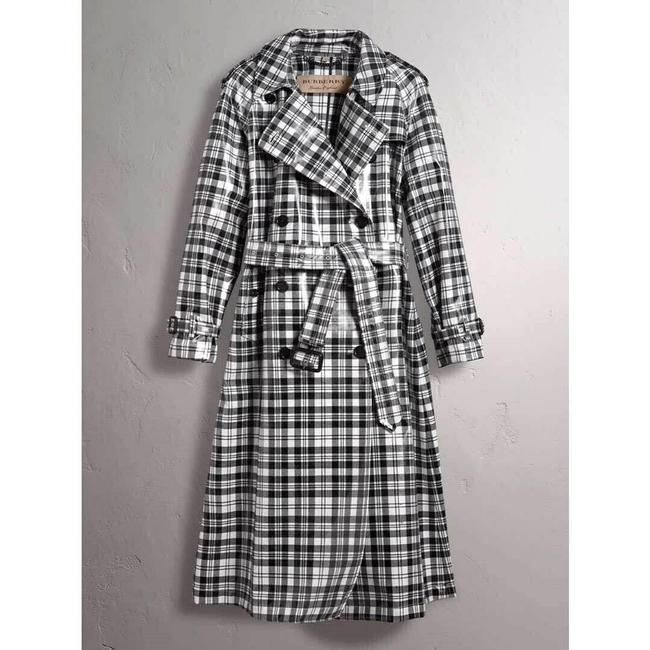 Burberry Women's Black/White Plaid Patent Trench Coat Image 1