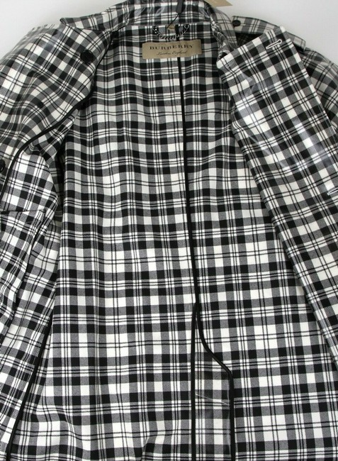 Burberry Women's Black/White Plaid Patent Trench Coat Image 10