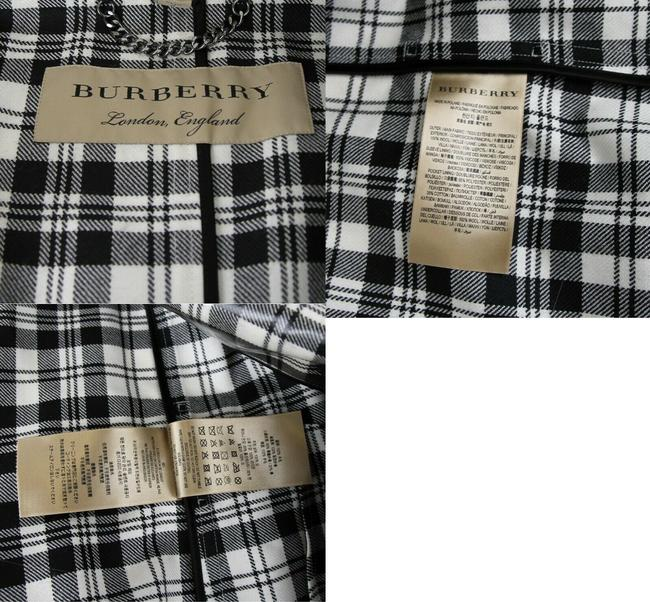 Burberry Women's Black/White Plaid Patent Trench Coat Image 11
