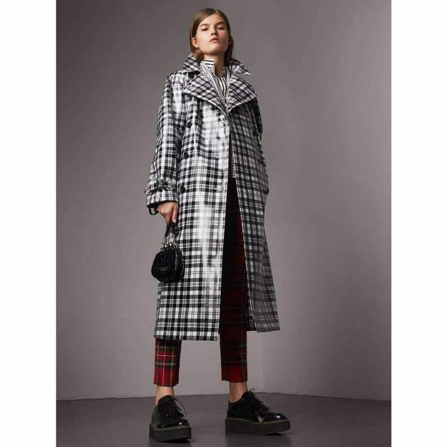Burberry Women's Black/White Plaid Patent Trench Coat Image 3