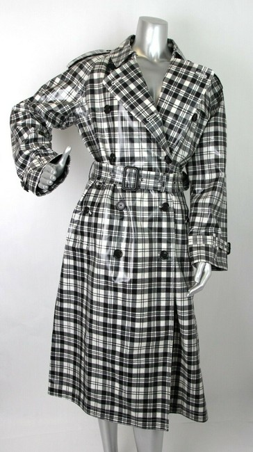 Burberry Women's Black/White Plaid Patent Trench Coat Image 5