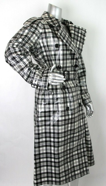 Burberry Women's Black/White Plaid Patent Trench Coat Image 6
