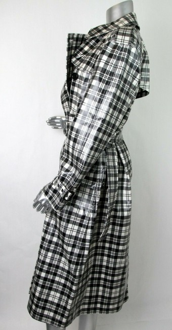 Burberry Women's Black/White Plaid Patent Trench Coat Image 7