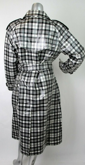 Burberry Women's Black/White Plaid Patent Trench Coat Image 8