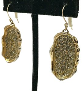 Alexis Bittar Montana Gold Plated Concave Hook White Crystal Drop Earrings