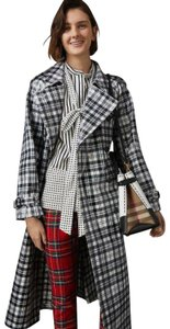 Burberry Women's Black/White Plaid Patent Trench Coat