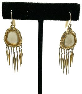 Alexis Bittar Gold Plated Crystal Faceted Lucite Chevron Fringe Drop Earrings