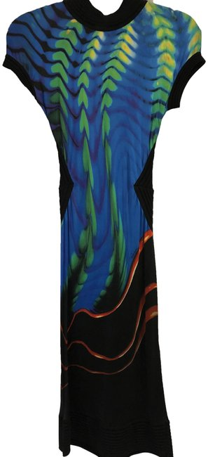 Item - Multi Color Printed Mid-length Night Out Dress Size 10 (M)