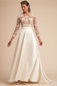 BHLDN Ivory and Nude Serena Feminine Wedding Dress Size 2 (XS)