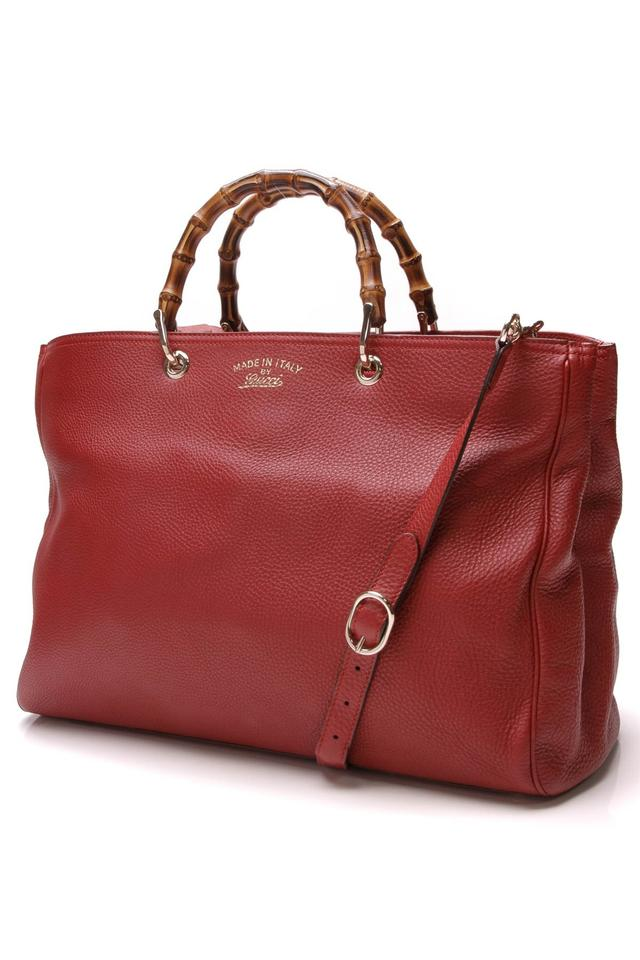 c61fd5028 Gucci Bamboo Shopper Bag Large - Red Leather Tote - Tradesy