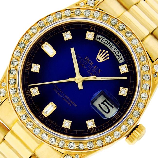 Rolex Blue Vignette Mens Datejust 18k Yellow Gold with Diamond Dial Watch Rolex Blue Vignette Mens Datejust 18k Yellow Gold with Diamond Dial Watch Image 1