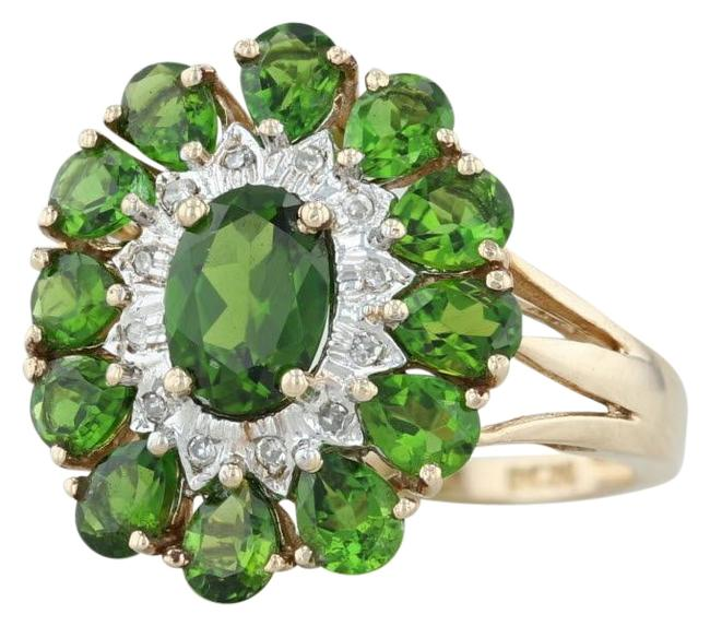 Yellow Gold New 2.65ctw Green Chrome Diopside - 10k Size 6 Halo Cocktail Ring Yellow Gold New 2.65ctw Green Chrome Diopside - 10k Size 6 Halo Cocktail Ring Image 1