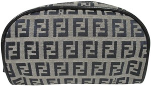 Fendi FENDI Gray & Blue Zucca Pattern Canvas Cosmetic Pouch w/ Blue Leather