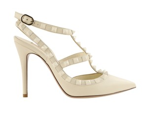 Valentino Leather Studded Stiletto White Pumps