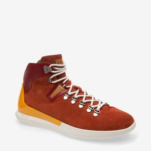 Bally Brown Avyd Sienna Suede Red Leather Logo Top Sneakers 8.5 Us 41.5 Italy Shoes