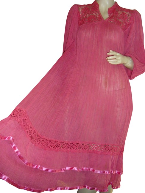 Item - Fuschia Rose Pink Gauze Crinkled Gauze Crochet Lace Satin Ribbons Boho Long Casual Maxi Dress Size OS (one size)