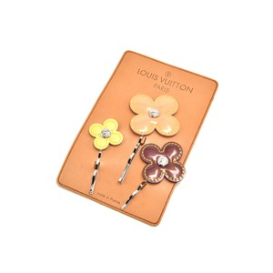 Louis Vuitton Louis Vuitton Valletta Fleur Tricolor Vernis Leather Hair Pin Barettes