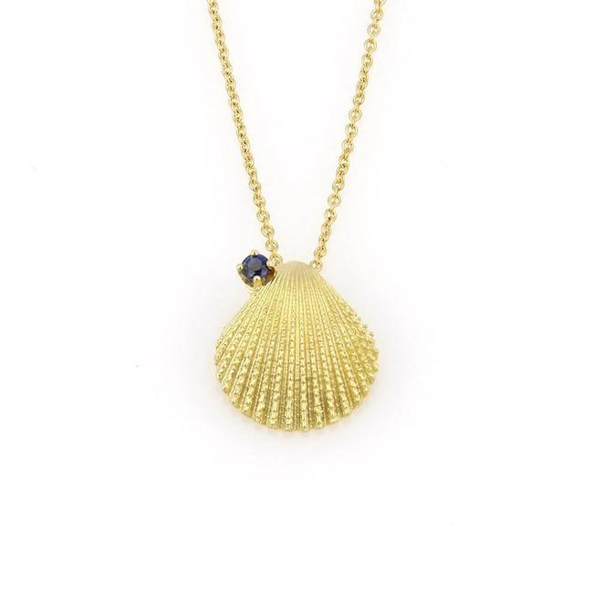 Tiffany & Co. 23749 Sapphire 18k Yellow Gold Textured Seashell Pendant Necklace Tiffany & Co. 23749 Sapphire 18k Yellow Gold Textured Seashell Pendant Necklace Image 1